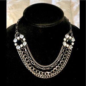 5/$25 Black White Rhinestone Multi-Strand Necklace
